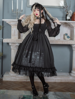 Dance with the Death Long Sleeve Black Gothic OP Dress