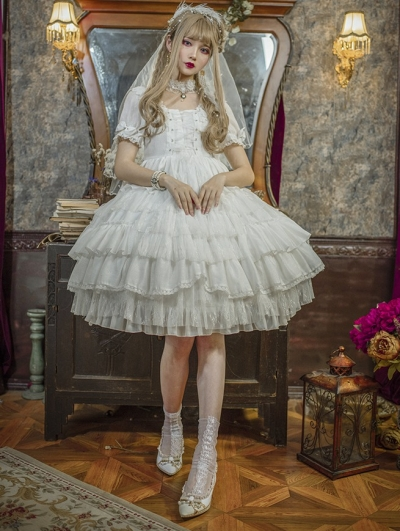 The Arrogant Short Sleeve White Sweet Lolita OP Dress