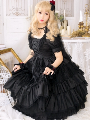 The Arrogant Short Sleeve Black Gothic Lolita OP Dress