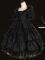 The Arrogant Short Sleeve Black Gothic Lolita OP Dress