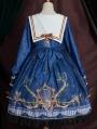 Flying butterflies Blue Preppy Style Long Sleeve Lolita OP Dress
