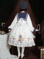 Flying butterflies White Preppy Style Long Sleeve Lolita OP Dress