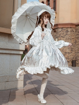 The holy song of Guardian White Long Sleeve Sweet Lolita OP Dress