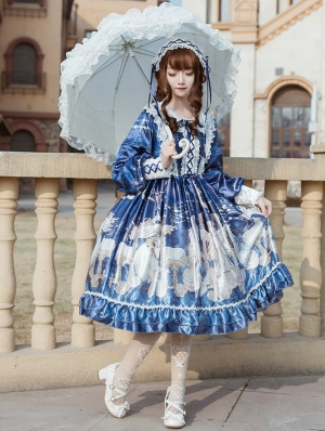 The holy song of Guardian Navy Long Sleeve Sweet Lolita OP Dress