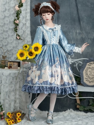 The holy song of Guardian Blue Long Sleeve Sweet Lolita OP Dress