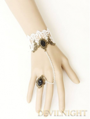 White Lace Pendant Vintage Bracelet Ring Jewelry