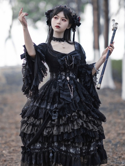 The light of day and night Gorgeous Hime Sleeve Black Gothic Lolita OP Dress Set