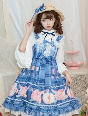 The beach of peach Navy Sweet Lolita JSK Dress