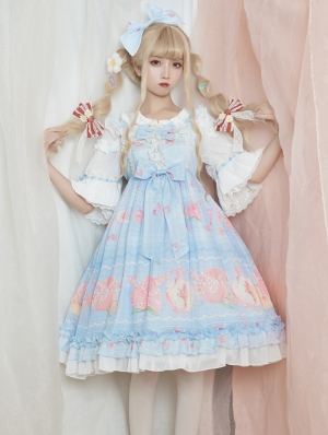 The beach of peach Blue Sweet Lolita JSK Dress