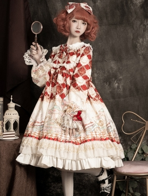 The dream of childhood Long Sleeve Red Sweet Lolita OP Dress