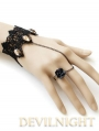 Black Lace Flower Gothic Bracelet Ring Jewelry