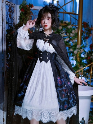 The Knight Of Lily Black Lantern Sleeve Gothic Lolita OP Dress