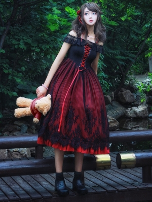 Demon Princess Black And Red Gothic Lolita JSK Dress