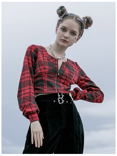 Red Plaid Street Fashion Gothic Grunge Short Top for Women