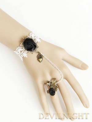 White Lace Pendant Flower Gothic Lolita Bracelet Ring Jewelry
