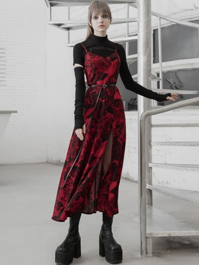 Red Street Fashion Gothic Grunge Slit Long Dress