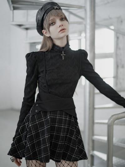 Black and White Plaid Street Fashion Gothic Grunge Short Suspender Skirt