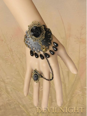 Vintage Flower Gothic Bracelet Ring Jewelry