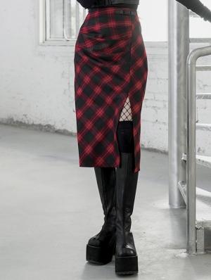 Red Plaid Street Fashion Gothic Grunge Slit A-Line Long Skirt