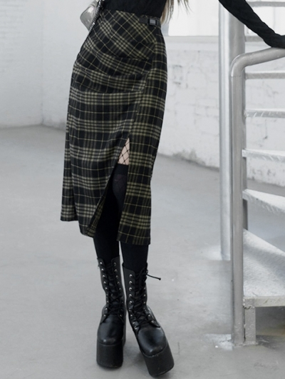Yellow Plaid Street Fashion Gothic Grunge Slit A-Line Long Skirt