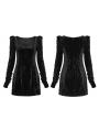 Black Street Fashion Vintage Gothic Grunge Velvet Sexy Short Dress