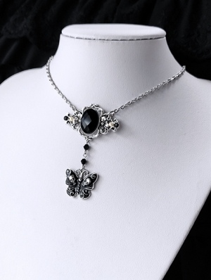 Vintage Gothic Black Crystal Butterfly Pendant Necklace