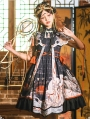 Fights Of Fantastic Animals Chinese Style Black Short Sleeve Qi Lolita OP Dress