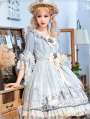 The Overture Of Fairies Middle Sleeve Blue Sweet Lolita OP Dress