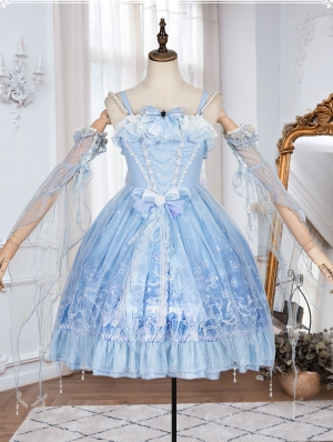 The Deer In The Forest Blue Sweet Lolita JSK Dress