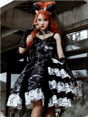 Vampire Dairies Irregular Black And White Gothic Lolita JSK Dress
