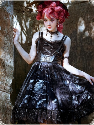 Vampire Dairies Black Gothic Lolita JSK Dress