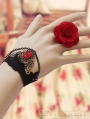 Black Lace Red Flower Pendant Gothic Bracelet Ring Jewelry