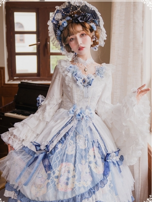 Vivian White And Blue Long Sleeve Classic Lolita Tea Party OP Dress