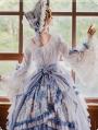 Vivian White And Blue Long Sleeve Classic Lolita Tea Party OP Dress