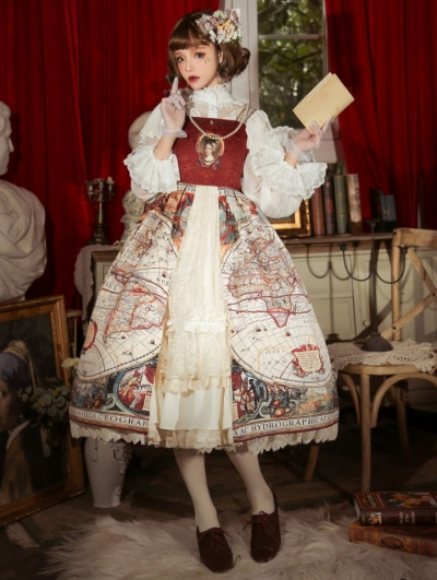 Map Of Age Of Discovery Open Front Red Classic Lolita JSK Dress