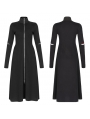 Black Street Fashion Gothic Grunge Slim Casual Long Trench Coat for Women