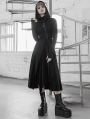 Black Street Fashion Gothic Grunge Slit Casual Long Hooded Trench Coat for Women