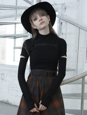 Black Street Fashion Gothic Grunge Long Sleeve Casual T-Shirt for Women