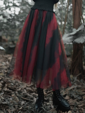 Black and Red Street Fashion Gothic Grunge Casual Long Tulle Skirt