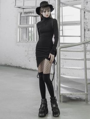 Black Street Fashion Gothic Grunge Irregular Slim Sexy Casual Short Dress