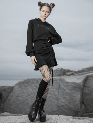 Black Street Fashion Gothic Grunge Long Sleeve Hooded Short Casual Dress