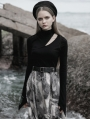 Black Street Fashion Gothic Grunge High Neck Hollow-out Long Sleeve Casual T-Shirt for Women