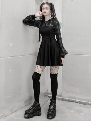 Black Plaid Street Fashion Gothic Grunge Fake Two-Piece Hooded Casual Dress