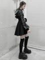 Black Plaid Street Fashion Gothic Grunge Fake Two-Piece Hooded Casual Dress