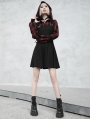 Black and Red Plaid Street Fashion Gothic Grunge Fake Two-Piece Hooded Casual Dress