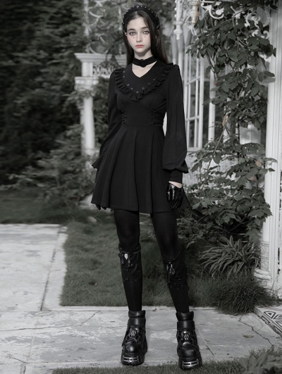 Black Gothic V-Neck Long Sleeve Short Casual Dress
