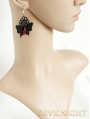 Black Lace Butterfly Red Pendant Gothic Earrings