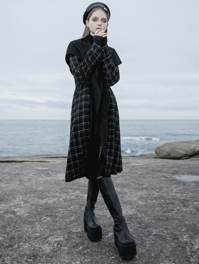 Black Plaid Street Fashion Gothic Grunge Reversible Long Hooded Casual Coat for Women
