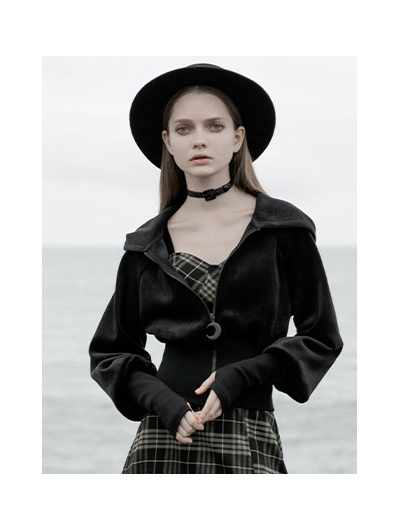Black Street Fashion Gothic Grunge Velvet Hooded Short Casual Jacket for Women
