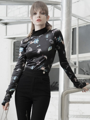 Black Street Fashion Gothic Grunge Embroidery Long Sleeve T-Shirt for Women